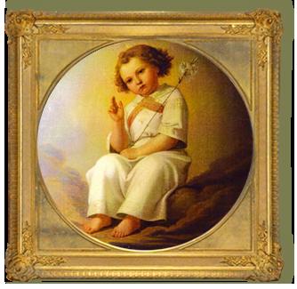 ジャンティールキタカミの幸せ伝説:ユリの花を持った天使の絵