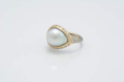 baroque+pearl+&+diamondK18+combination+ring+¥320,000